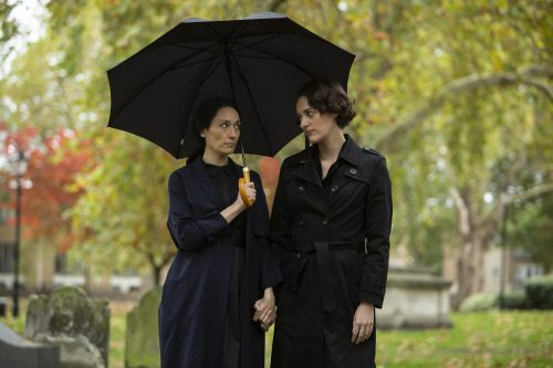 Stills of Phoebe Waller-Bridge and Sian Clifford in comedy drama 'Fleabag' Series 2. Luke, Varley, Chapters, People, freelance, production, unit, stills, photographer, photography, portrait, crew, commercials, promos,